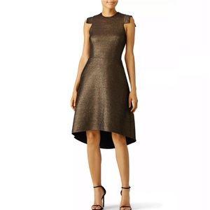 Halston Heritage Antique Gold Jacquard Dress
